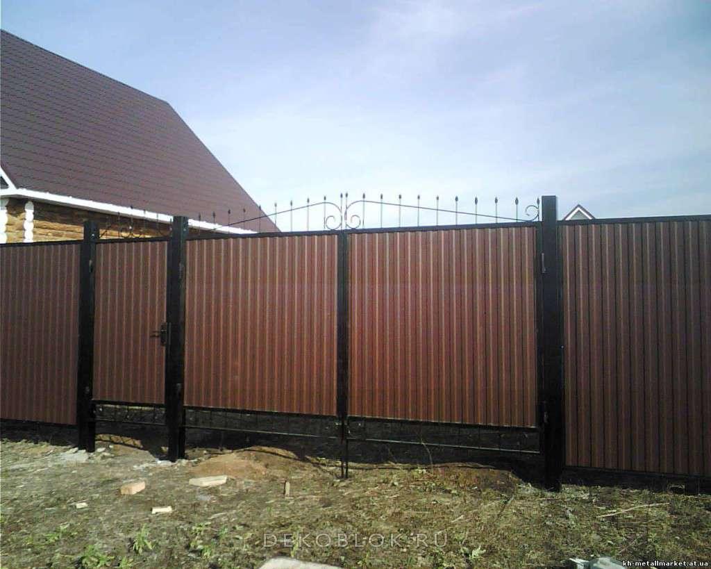 Забор с ковкой и профнастилом своими руками