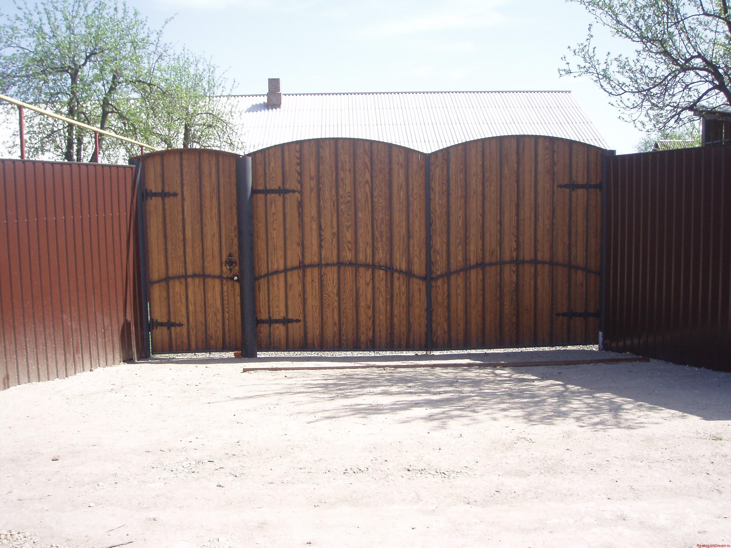 Ворота для забора из профнастила своими руками фото 323