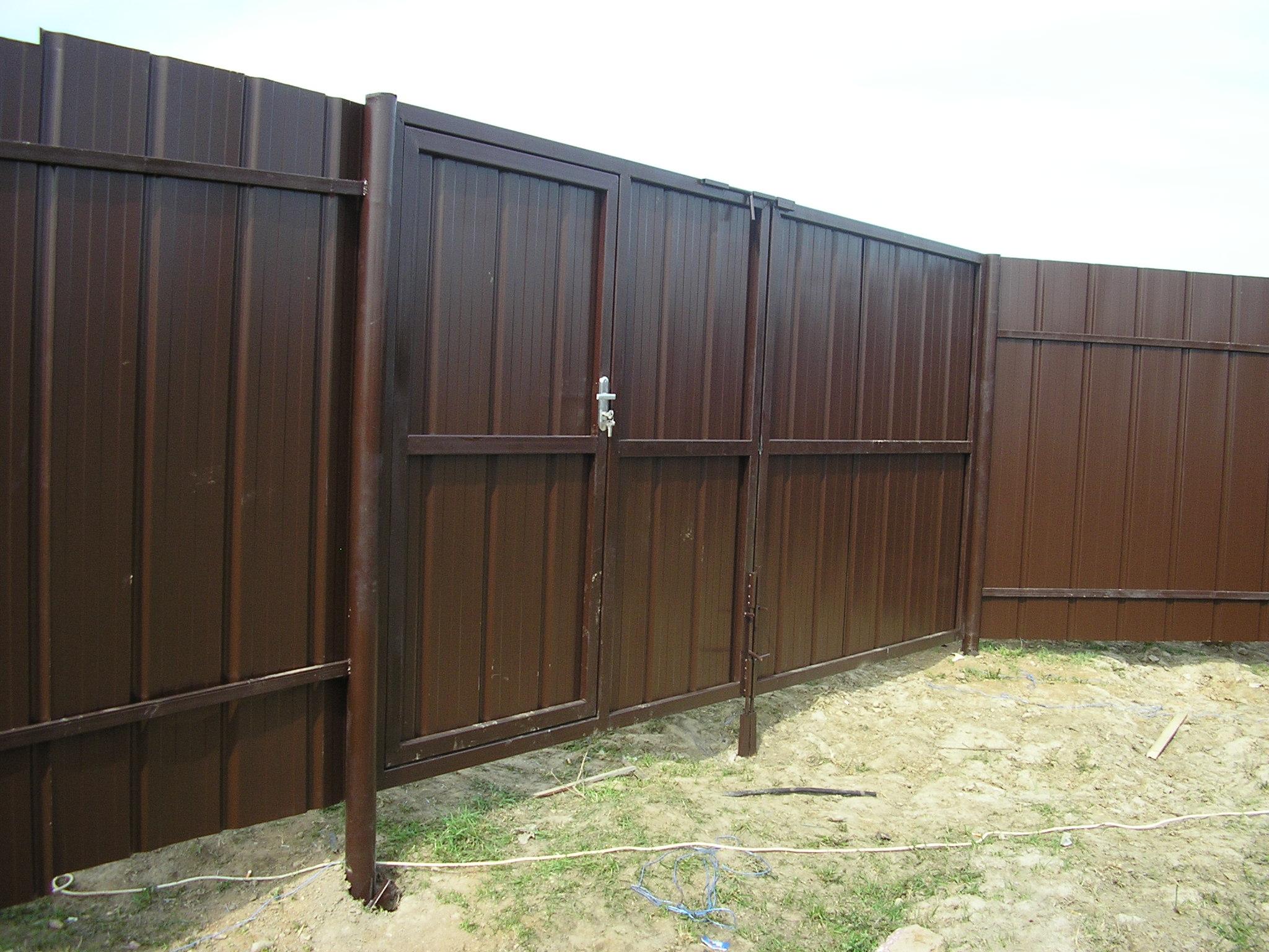 Ворота для забора из профнастила своими руками фото 951